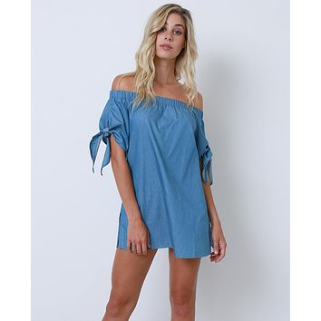 No Better Way Chambray Tunic Dress - Blue Off-Shoulder