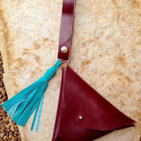 Leather Triangle Pouch Wristlet