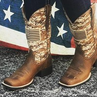 Ariat Boot Women's Camo Round Up Patriot Cowgirl Boots #10023368