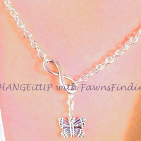 Lariat Infinity and Silver Butterfly Necklace