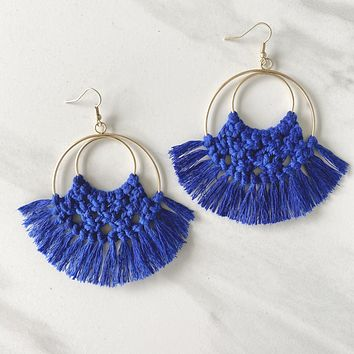 Sweet Dreams Fringe Tassel Earring in Blue