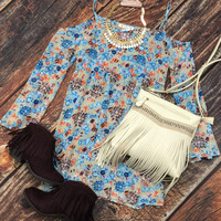Attached Sleeve Floral Dress