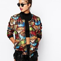 Jaded London Quilted Bomber Jacket With All Over Butterfly Print