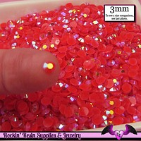 300 pcs 3mm AB SALMON PINK Jelly Deco Flatback Candy Rhinestones