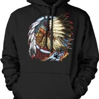 Indian Chief Mens American Indian Sweatshirt, Native American With Feather Headdress Pullover Hoodie:Amazon:Clothing