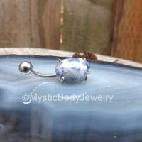 "Belly Button Ring 14g Sodalite Gem 3/18"" Silver Curved Barbell Piercing Prong Oval Navel Piercings Jewelry Precious Rings Stainless Barbells"