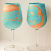 Couples Cape Cod Map Wine Glass Set: His and Hers Romantic Quotes