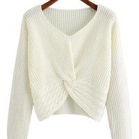 Braided Knit Twist Pullover Sweater