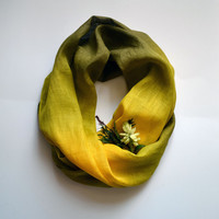 Green Tones Linen Scarf - Scarf For Fall - Fashion Scarves - Gift - Long Linen Scarf - Fashion Accessories