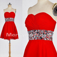 Beads Ruffled Sweetheart Strapless Short Empired Bridesmaid Celebrity Dress, Chiffon Formal Evening Party Prom Dress New Homecoming Dress