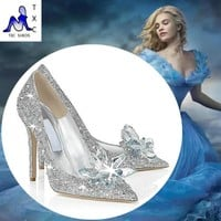 2016 Cinderella glass slipper with money pointed high-heeled leather fine with rhinest