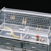 US Acrylic Earring Keeper with 2 Drawers - holds up to 72 pairs