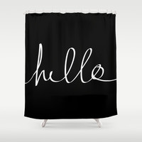Hello Shower Curtain by Leah Flores