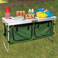 Portable Camping Kitchen Table Prep Serve Storage Adjustable Height Folds