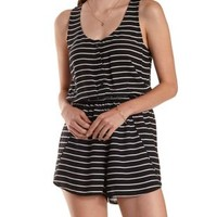 White Combo Striped Button-Up Tulip Romper by Charlotte Russe