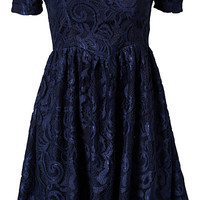 Lace Skater Dress - Ginger Fizz - Navy - Party Dresses - Clothing - Women - Nelly.com