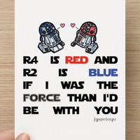 Buy 1 Get 1 FREE--Star Wars Valentines Day Card r2d2 r4d4- Funny Vday Card