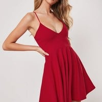 Missguided - Red Strappy Skater Mini Dress