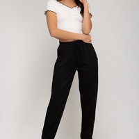 Jogger Pants with Elastic Waist and Pockets - Black