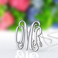 Personalized 925 sterling silver 1.25 inch monogram necklace -- OMR monogram style necklace jewelry
