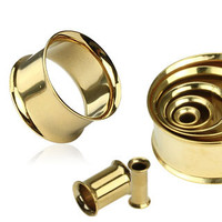 Gold Double Flare Tunnel Plugs