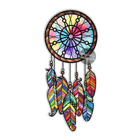 Dreamcatcher Sticker Colorful Feathers Bumper Sticker Laptop Decal Cute Car Decal Hippie Native American Tribal Dream Catcher Beads Boho