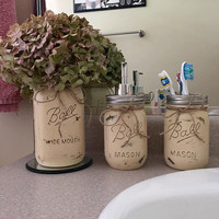 Mason Jar Bathroom Set, Bathroom Decor, Bridal Shower Gift, Wedding Gift, Mason Jar Soap Dispenser, Country, Housewarming Gift