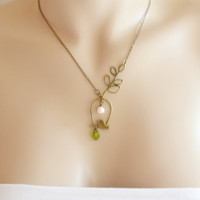 Bird charm necklace. Perched Bird with Leaf and Freshwater Pearl. Tweety bird. Whimsy Necklace. Mod Bird Perched Pendant