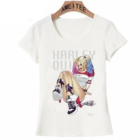 The latest American movies Suicide Squad sexy fun Harley Quinn T-shirt womens top tee Harajuku Brand Clothing