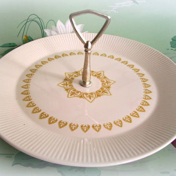 Mid Century Vintage Sheffield Handled Sandwich Plate Serenade Pattern Gold and White