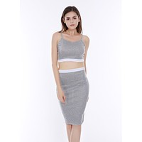 Fashion Casual Multicolor Sleeveless Strap Vest Long Skirt Set Two-Piece