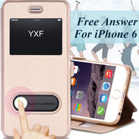 Smart Answer Window View Cover For Apple iphone 6 6S 4.7 / Plus 5.5 PU Leather Luxury Stand Magnetic Flip Case For iphone6 /plus