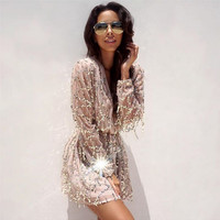 Fringed white sequined long-sleeved dress package hip