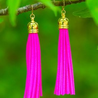 Something Unique Pink Tassel Earrings