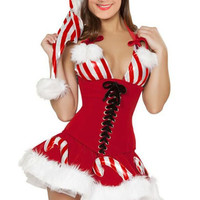 Candy Cane Halter Tie-Up Lace Corset Mini Dress Christmas Costume