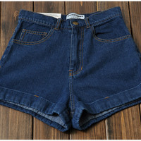 Medium Wash High-Waist Jean Cuff Short Denim Shorts - Navy blue
