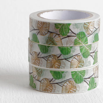 Vines Washi Tape, Thick Vines with Green and Gold Leaves, 15mm