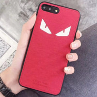FENDI Tide brand little monster couple models iPhoneX mobile phone case all-inclusive protective cover Red