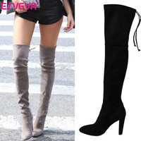 ESVEVA Sexy fashion round toe over the knee boots for women shoes sexy winter platform long boots