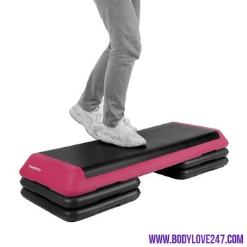 Adjustable Aerobic Platform Stepper with Risers Step Aerobics Trainer Home Gym