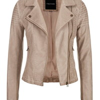moto jacket with asymmetrical double zipper and ribbed knit sides
