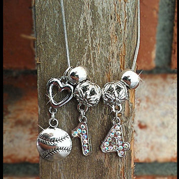 Personalized Bling Necklace with Sports Rhinestone Player's (2) Jersey Numbers with Hanging Sports Charm
