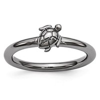 Black-Plated Sterling Silver Stackable Expressions Turtle Ring