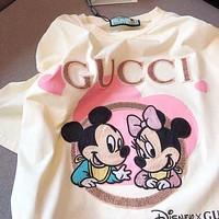 GUCCI x Disney Mickey Fashion Women Men Casual Print T-Shirt Top Blouse