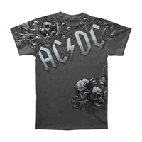 AC/DC Men's  Night Prowler Slim Fit T-shirt Grey Rockabilia