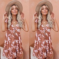 2020 new women's V-neck short sleeve printed high waist dress