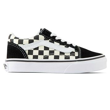 Vans Old Skool (Primary Check) Black White Kids Youth Kids Shoes Size 11