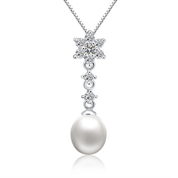 Sterling Silver Star W. Oval Freshwater Cultured Pearl and CZ Pendant Necklace