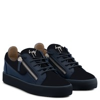 Giuseppe Zanotti Gz Frankie Blue Suede And Calfskin Leather Sneaker