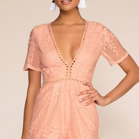 Tea And Biscuit Lace Romper - Mauve